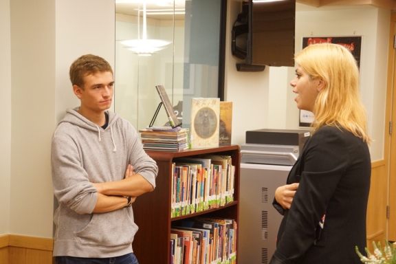 Acacia O'Connor answers student questions after a lecture at The Browning School.